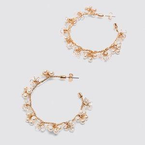 BRAND NEW Zara Crystal Drop Hoop Earrings, Gold